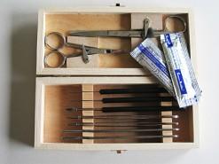 Prepareerbestek in houten kistje
